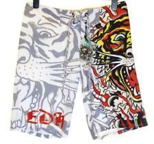 Bnwt Authentic Mens Ed Hardy Board Swim Surf Shorts Burning Tiger New White