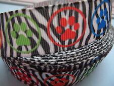 "Grosgrain Paw Print Neon Colourful Dog Collar Ribbon 7/8"" 22mm"