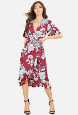 Womens Burgundy Blue Large Floral Ruffle Hem Wrap Midi Day Casual Dress