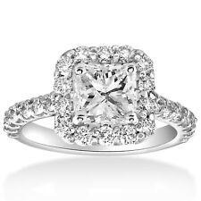 2 cttw Halo Princess Cut Solitaire Diamond Engagement Ring 14k Gold Enhanced