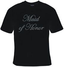 New MAID OF HONOR RHINESTONE T-Shirts 10 to 16 BLACK or WHITE