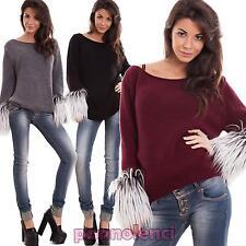 Maglione donna pullover scaldamani eco pelliccia lana manica lunga nuovo CJ-2361