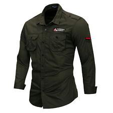New Mens Military Casual Long Sleeves Pockets Denim Cotton epaulet Shirts EK6474