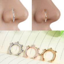 New Crystal Rhinestone Stainless Steel Nose Ring Body Piercing Bone Stud Jewelry