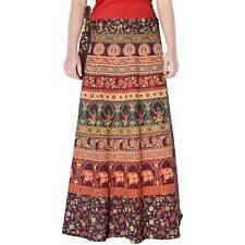 Brown Cotton Maxi Long Skirt Animal Print Repron Sarong Women Boho Skirt