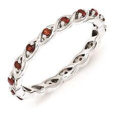 Sterling Silver Stackable Ring Garnet Birthstones, Silver Fashion band QSK1470