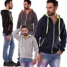 Sweat hommes manches longues fermeture éclair à capuche fluo sport jersey poches