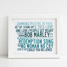 Bob Marley Poster, Greatest Hits, Framed Original Art, Album Print Lyrics Gift