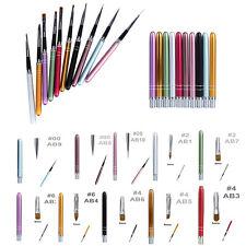 Nail Brush Art Pen Acrylic Gel System. Line Tool, Flat, Point, Slant Tip Brushes