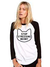 Stop Stressing Meowt Womens Baseball Top - Funny Cute Cat Top