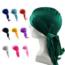 UK Unisex Men Women Bandana Doo Durag Headwear Soft Silk Pirate Cap Wrap Fashion