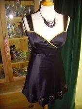 Laura Lees Little Miss Sew Black Satin Shiny 50's Dress Gold Trim Asos BNWOT