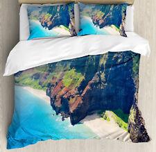 Hawaii Duvet Cover Set with Pillow Shams Na Pali Coast Island Print