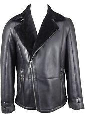 UNICORN Mens Crossed Zipper Black W/ Black Fitted Real Sheepskin Fur Coat #GV