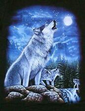 T-Shirt heulender Wolf, Wölfe+Mond, Gr.XXL, Western Biker Trucker Indianer,Husky