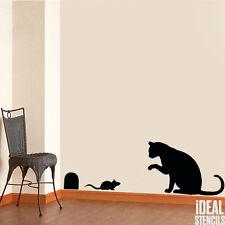 gato y ratón Estarcido secoración de Pared Pintura Arte REUTILIZABLE
