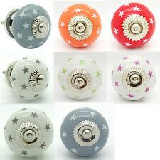 Stars Ceramic Door Knobs Cupboard Drawer Pull Handles Porcelain Door Knobs NEW