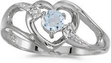 14k White Gold Round Aquamarine And Diamond Heart Ring (CM-RM1336XW-03)