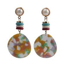 Statement Earrings Women Metal Dangle Resin Pendant Simulated Pearl Stone Drop