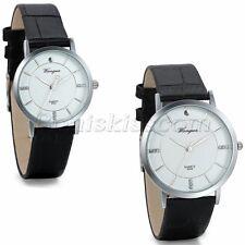 Couples Mens Womens Simple Rhinestone Dial Leather Band Quartz Charm Wrist Watch