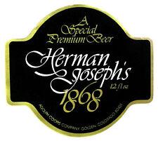 Adolph Coors HERMAN JOSEPHS 1868  beer label CO 12oz