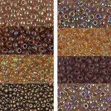 Miyuki Rocailles 6/0 aproximadamente 4 mm Topaz, marrón, cognac, marrón claro aprox. 9,9 gramos