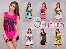 Ladies Casual Vest Top Brooklyn Print Sleeveless Cotton T-Shirt Sizes 8-14 FB33