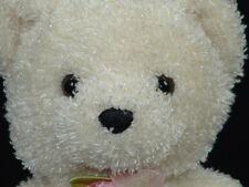 SPARKLE WHITE FUR FLOWER ROSE BOW SOFT WHITE TEDDY BEAR PLUSH STUFFED ANIMAL TOY