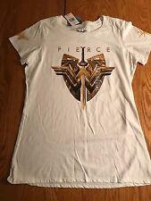 NEW NWT Licensed WONDER WOMAN FIERCE LOGO 100% COTTON WHITE T-Shirt JRS WOMEN'S