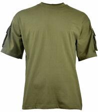 MFH T-Shirt Combat Tactique 'Special Ops' avec Poches Demi-Manches Coton Vert OD