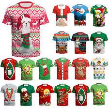 Womens Mens Christmas 3D Short Sleeve T-Shirt Xmas Santa Claus Tee Tops Gift