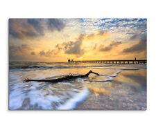 Wandbild Landschaftsfotografie Strand mit Steg im Sonnenuntergang auf Leinwand