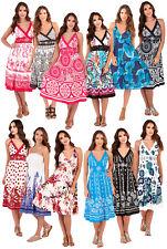 Womens Summer Dress V Neck Ladies Strappy Sleeveless Beach Holiday Sun Dress