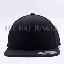 Yupoong Snapback Hat Plain 6089M Premium Classic Flexfit Baseball Cap Wool Black