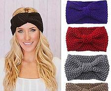 Women Girl 70' Retro Party bow boho Warm Crochet knit Headband Hair band Wrap