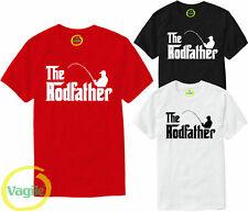 THE ROD FATHER Mens Tshirt Funny Fishing Rod Reel Fishermen Tee Top T-Shirt