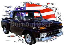 1966 Black GMC Pickup Truck a Custom Hot Rod USAT T-Shirt 66 Muscle Car Tees
