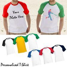 New Mens Personalised Contrast Baseball T-Shirt Custom Photo Print Tee Top Gift