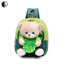 New Cute Kids School Bags Cartoon Bear Dolls Applique Canvas Backpack Mini Baby1