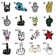 Retro Rockabilly Zombie Skeleton Hand Sign Biker Punk DIY Clothes Iron on Patch