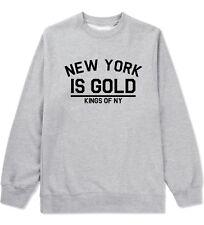 Kings of NY New York Is Gold Crewneck Sweatshirt LAX Gym Black Gold Bricks LA