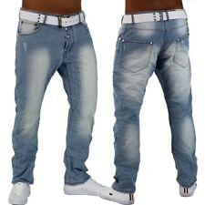 Pantalones Vaqueros De Hombre Azul Claro chino del dril de Algodón Ajustado