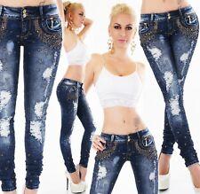 Röhrenjeans Jeans Damen Hose Stretch Destroyed Fetzen Strass Nieten ORIGINAL
