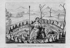 Stampa antica SANTA GENOVEFFA patrona di Parigi 1856