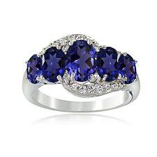 Sterling Silver 1.9ct TGW Blue & White Topaz 5-Stone Ring