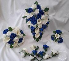 Blue ivory  white wedding flowers Bouquet  Bridal /Bridesmaid  Buttonhole silver