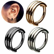Triple Ring Clicker Piercing Segment Ear Stacked In Multiple Rows Septum 1.2MM