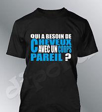 Tee shirt QUI A BESOIN DE CHEVEUX humour homme chauve fete grand pere papi papa