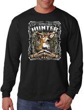 Men's American Hunter Long Sleeve Black T Shirt Mossy Deer Hunting Wildlife USA