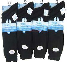 3 -- 12 pairs black 100% pure cotton mens socks size 6-11 WITH SEAM FREE TOE